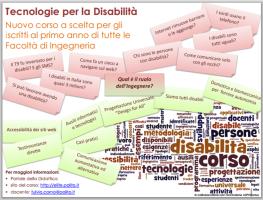volantino di promozione del corso Tecnologie per la Disabilità al Politecnico di Torino