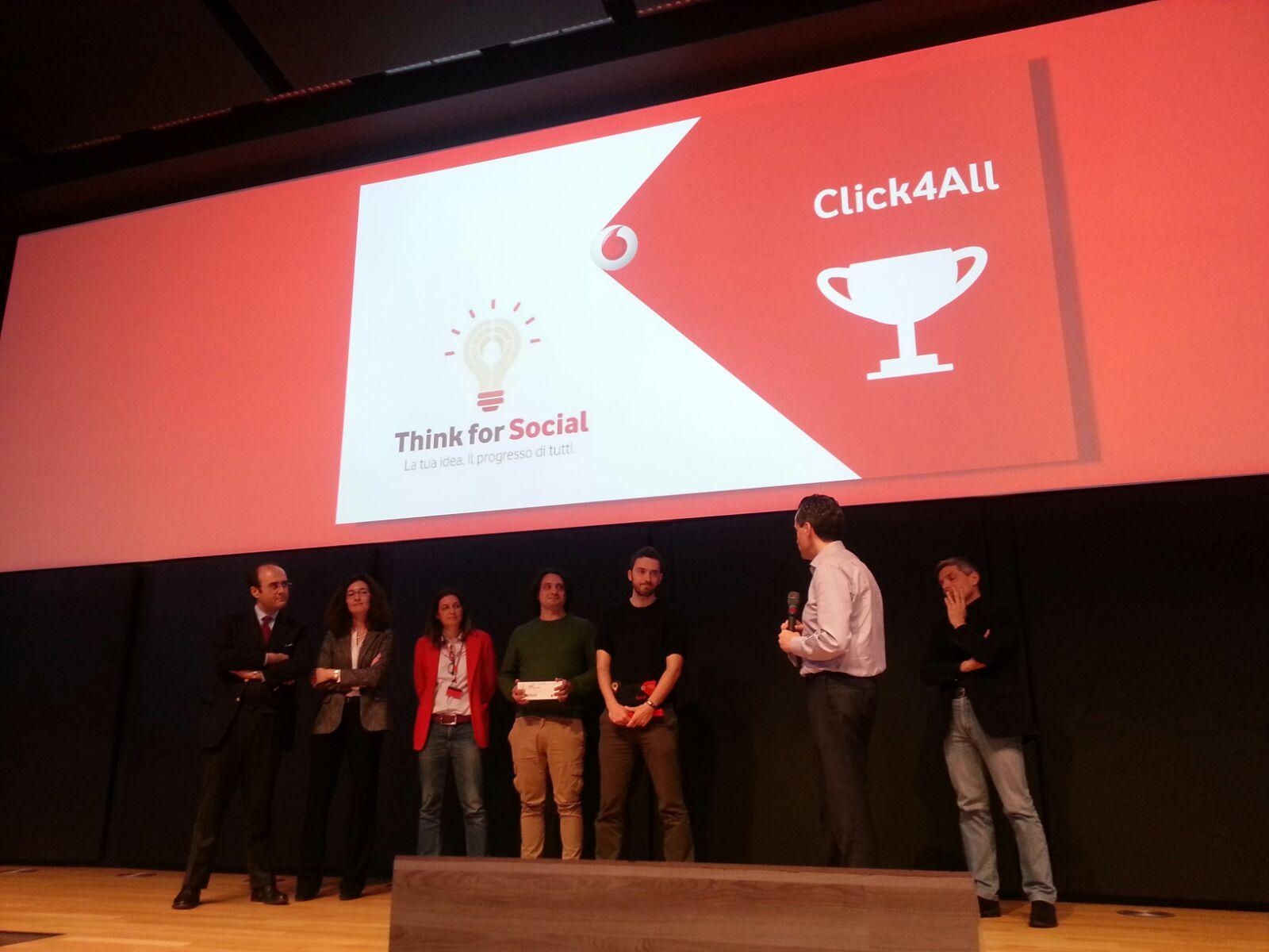 immagine associata a Il nostro progetto Click4All vincitore della selezione finale di Think for Social, il concorso di Fondazione Vodafone Italia